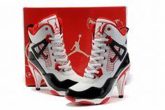 Nike Air Jordan 4 High Heels----I'd wear these! Sneaker High Heels, Nike High Heels, Black High Heels, High Heel Boots, Womens High Heels, Black Shoes, High Heel Jordans, Wide Shoes, Shoe Boots