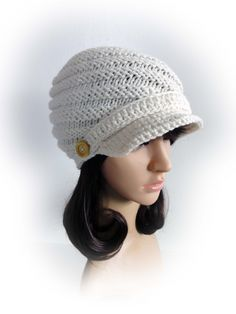 Knit and Crochet Swirl Newsboy Hat. Ivory or 43 colors. Wooden Buttons. Spiral Beanie with Visor. Women's Hat. Warm Winter Accessory. by VividBear on Etsy