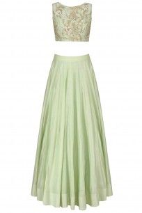 Pistachio Green Embroidered Bateau Blouse with Lehenga Skirt