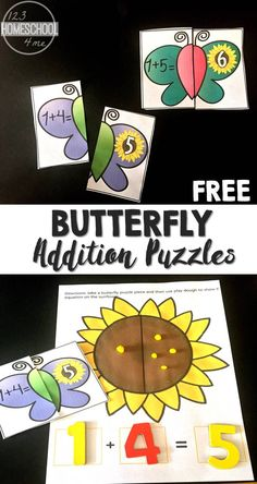 FREE Butterfly Addition Puzzles - these are such a fun way for preschool, prek, kindergarten, and first grade to practice adding with a fun spring activity/ summer activity for hands on math (math games, math puzzles) Kindergarten Math Games, Math Activities For Kids, First Grade Activities, Spring Activities, First Grade Math, Preschool Activities, Addition Activities, Kindergarten Addition, Kindergarten Projects
