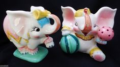 Vintage Napco Baby Elephant Circus Planters Nursery Ceramic Elephant K1847 VGC