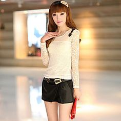 Women's Casual/Lace/Party Micro-elastic Long Sleeve Regular Blouse (Lace)