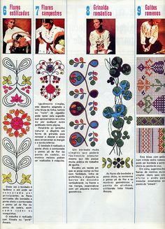 from modas e bordados portuguese magazine Tambour Embroidery, Crewel Embroidery, Embroidery Patterns, Machine Embroidery, Pattern Pictures, Doodle Drawings, My Scrapbook, Craft Patterns, Textiles
