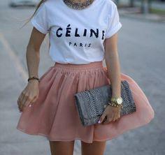 cute - printed designer tee and tulle skirt