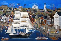 """Carol Dyer Hand Signed and Numbered Limited Edition Lithograph """"Sea Music on the Charles W. Morgan"""""""