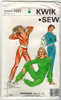 A simple jogging suit. Would still look good today. Vintage 1982 uncut Kwik Sew 1227 pattern for jogging suit. Sizes XS-L SHIPS FREE