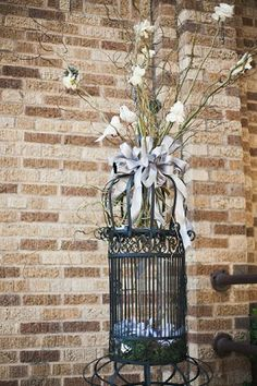 large black birdcage on stand (shown here staged at a vintage wedding) RENT now <3