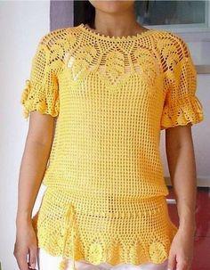 * Pérolas do Crochet: Blusa Leaves em crochet COM PAP