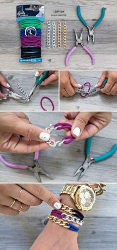 браслет из резинки и цепи