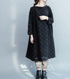 women wool Loose fitting doll dress in black spring by MaLieb