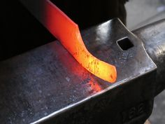The Forging of a pattern welded Seax or Sax. The shape of the large knife is copied from a Sax found in the weapons bog from Vimose.