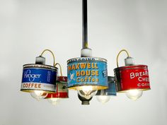 Old Coffee Can Chandelier 9