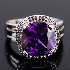 'Princess cut Amethyst Gemstone silver Ring Size 7' is going up for auction at  6am Sun, May 12 with a starting bid of $8.