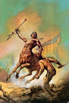 Boris Vallejo - Centaur fighting human. Tags: centaurs, kentaurs, mythical creatures,
