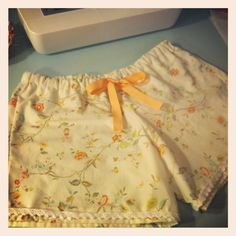 Sleep shorts made from upcycled vintage sheets!