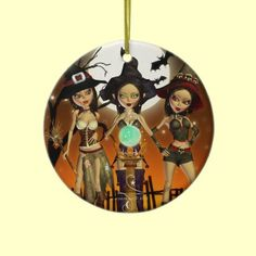 """Sisters Three"" enchanting Witch double sided digital art round ornament decoration by XG Designs NYC. $18.75 Also available with ""Magical Halloween"" or ""Samhain Blessings"" on back with date in our shop! Great for Witch lovers, Pagans, Halloween or Samhain too! #Witch #Halloween #Pagan"