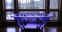 Gothic Furniture, Cool Furniture, Purple Furniture, Dream Bathrooms, Beautiful Bathrooms, Purple Bathrooms, Glass Bathtub, Blue Bathtub, Goth Home Decor