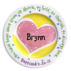 Little Worm Ceramic Plates Heart Pink is a nice gift to the child. The scenery drawn on the plate will be liked very much by the child. The different objects used for the scenery are very much popular with the children. Therefore when the child looks at t Baby Baptism Gifts, Keepsake Baby Gifts, Unique Baby Gifts, Baby Girl Gifts, Painted Ceramic Plates, Hand Painted Ceramics, Ceramic Painting, Painted Pottery, Personalized Plates