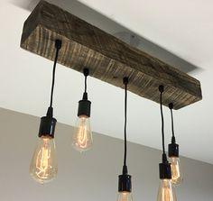 "Reclaimed Barn Timber Beam Light Fixture/bar/restaurant /home.  24"" 5 light. Edison bulb. Rustic modern industrial lighting"