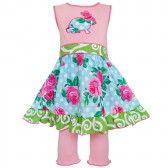 6312e4dc0260b Annloren Baby Girls Pink Easter Rose Dot Bunny Dress Capri Outfit Set  12-24M -
