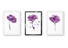 Watercolor Print set Abstract Flowers Minimalist Flower