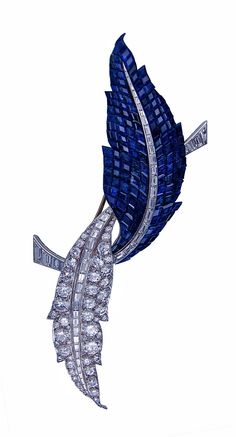 Van Cleef & Arpels Invisibly Set Diamond Sapphire Pin 1960 vintage jewelry brooch leaf feather gem-set blue and white x