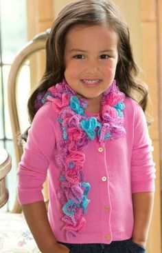 Girlie Ruffle Scarf Free Knitting Pattern from Red Heart Yarns