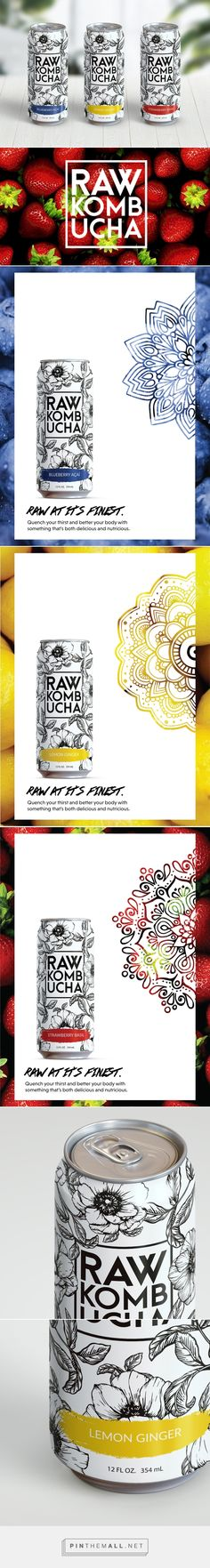 Raw Kombucha by Melanie Peterson. Source: Behance. Pin curated by #SFields99 #packaging #design #inspiration #ideas #branding #product #kombucha #drinks