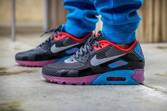 "Nike Air Max 90 KJCRD ICE QS ""Dark Grey, Blue & Red"" (Detailed Pics)"