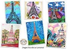 Illustrer un poème sur la tour Eiffel Eiffel Tower Painting, Eiffel Tower Art, Eiffel Towers, Art Lessons For Kids, Art For Kids, 7 Arts, 7th Grade Art, Art Français, School Art Projects