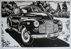 This is Master Deluxe, a linoleum block print or linocut of the vintage car made by Chevrolet. I find the grilles of old cars pretty interesting. This one has some serious chrome, and Master Deluxe was a kind of car I had never heard of before. Check out those whitewalls, are they the bees knees or what? Get your cruise on with some old Detroit metal. This print is printed in black, and carved and printed entirely by me. The ink is fadeless oil-based, and the paper is acid-free Lenox…