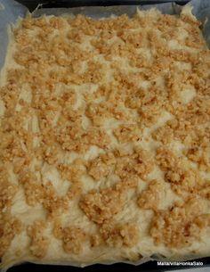PELTIPULLA  2,5 dl vettä 1 pss kuivahiivaa 1 muna 1 dl sokeria 1 tl suolaa 7 dl vehenäjauhoja 150g marg.  Valamista kuorrute:  Sekoita kattilassa: 150g voita 2,5 dl sokeria 3/4 dl vehenäjauhoja 1 pss hasselpähkinärouhetta(80g) Paista pullaa 225 asteessa 15-20min. Wine Recipes, Baking Recipes, Snack Recipes, Snacks, Sweet And Salty, Diy Food, My Favorite Food, Sweet Recipes, Food Porn