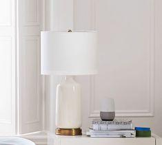 Emilie Column Bedside Lamp with USB Base, Ivory