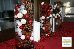 pine cones with red and silver