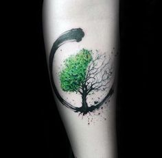Green And Black Paint Brush Stroke Guys Amazing Tree Of Life Forearm Tattoos tattoos for women