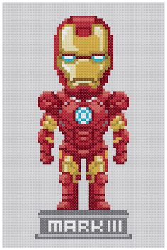 PDF Cross Stitch pattern Iron man mark 3 by PDFcrossstitch