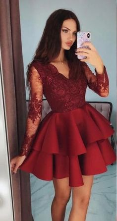 Long Sleeves Homecoming Dress With Applique and Beading, Popular Short Prom Dress ,Fashion Da. - Long Sleeves Homecoming Dress With Applique and Beading, Popular Short Prom Dress ,Fashion Dancel Dress Source by - Long Sleeve Homecoming Dresses, Prom Dresses For Teens, Prom Dresses Long With Sleeves, Hoco Dresses, Prom Party Dresses, Party Gowns, Dress Party, Short Prom Dresses, Sexy Dresses