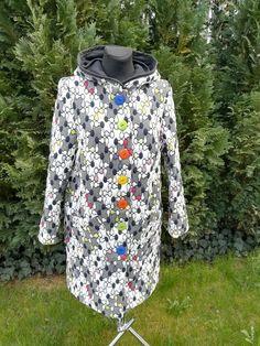 Zapraszamy po wyjątkowe tkaniny do TkaneDziane.pl #tkanedziane.pl #płaszcz #tkaniny #art #colors #kolory #black_and_white #polscy_projektanci #top_moda #moda_z_wybiegów #mozaika #samauszyłam Shirt Dress, Mens Tops, Jackets, Shirts, Dresses, Fashion, Down Jackets, Vestidos, Moda