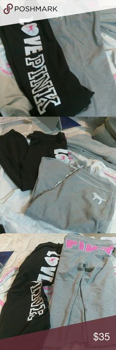 Pinks sweats 1 pair is a large black & white Drawstring size large  2nd pair is gray and pink Capri style large PINK Victoria's Secret Pants Ankle & Cropped