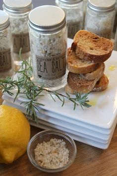 handmade gift: lavender & lemon sea salt ~ This is the perfect top salt for a finished dish – sprinkle on roasted chicken, raw salads, sliced tomatoes, avocados, in olive oil and vinegar with toasted baguettes… you name it. How about Bruschetta.
