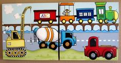 Cranes, Trains and Trucks art.  Sarah can paint??