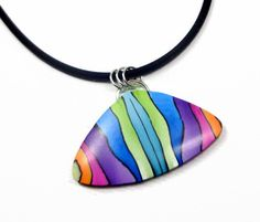 Rainbow Pendant Necklace polymer clay jewelry by BeadazzleMe #pendant #jewelry #rainbow