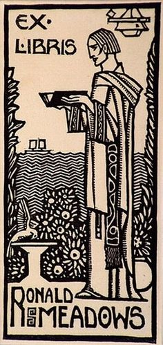Ex libris Ronald Meadows (c. 1932) by Christian Waller (Australian, 1894-1954)
