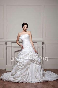 Plus Size Wedding Dresses Strapless Chapel Train Taffeta Satin White 01001110003
