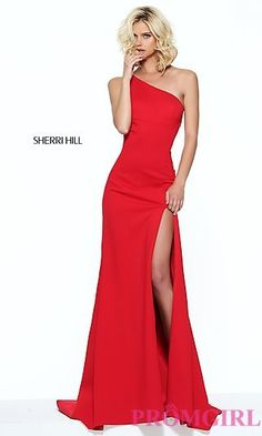 One Shoulder Sherri Hill Long Prom Dress at PromGirl.com