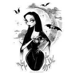 We gladly feast on those who would subdue us. Not just pretty words. - MORTICIA, THE ADDAMS FAMILY Morticia loves moon bathing on crisp, clear starry nights. Halloween Illustration, Halloween Drawings, Halloween Artwork, Arte Horror, Horror Art, Art Sketches, Art Drawings, Gothic Drawings, Pretty Drawings