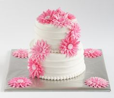 lovely pink  a little doubble tiered cake .