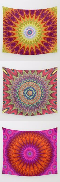 Red hot - fire - flame mandala wall tapestry collection. Mandala - bohemian - ethnic - indian - ornament - kaleidoscope tapestries - wall hangings.