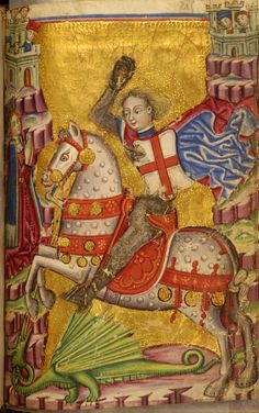 Saint George Killing the Dragon by Zanino di Pietro (Italian, active from died before PERIOD: mid century (before (Medieval) Medieval Horse, Medieval Art, Medieval Manuscript, Illuminated Manuscript, Saint George And The Dragon, Renaissance Kunst, Saint Georges, Book Of Hours, Knights Templar