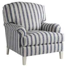 Bring cottage-chic style to your living room seating group or master suite ensemble with this lovely wood-framed arm chair, showcasing a timeless stripe moti...